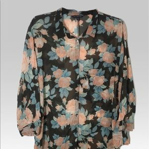American Eagle outfitters 3/4 sleeve sheer Top XL